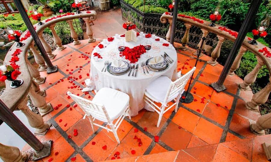 Mesa romantica en la ex hacienda de tlalpan