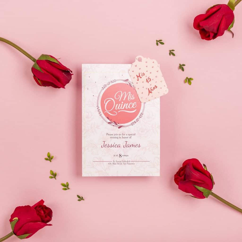 invitaciones de 15 años  rosas rojas